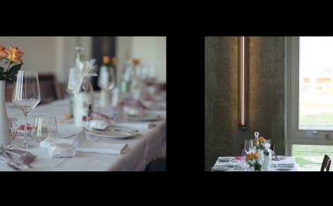 Tischdekoration für die Feier, gedeckter Tisch
